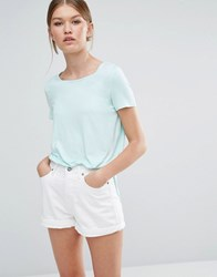 Vero Moda Long T Shirt With Side Splits Bleached Aqua Blue