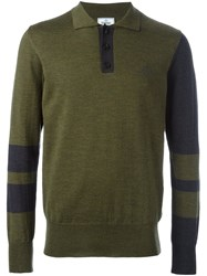 Vivienne Westwood Man Contrast Sleeve Polo Shirt Green