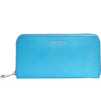 Aspinal Of London Continental Clutch Reptile Embossed Leather Purse Blue