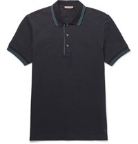Bottega Veneta Contrast Tipped Cotton Pique Polo Shirt Navy