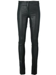 Masnada Panelled Leather Skinny Trousers Black