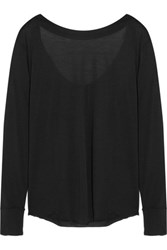 Donna Karan New York Draped Modal Blend Jersey Top Black