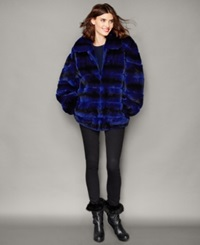 The Fur Vault Rabbit Fur Bomber Jacket Royal Blue Black