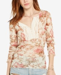 Denim And Supply Ralph Lauren Floral Print Lace Henley Claire Floral