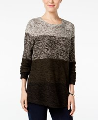Styleandco. Style Co. Colorblocked Marled Sweater Only At Macy's Dark Ivy Combo