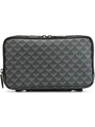 Emporio Armani All Over Print Clutch Grey