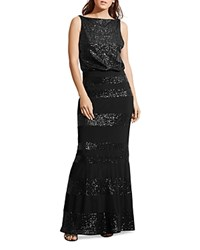 Ralph Lauren Petites Sequin Stripe Gown Black Black Shine