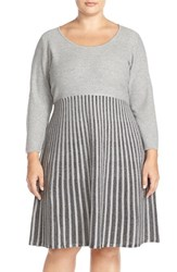 Plus Size Women's Calvin Klein Scoop Neck Fit And Flare Sweater Dress
