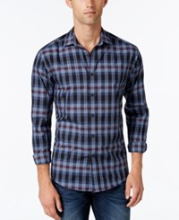 Vince Camuto Men's Plaid Long Sleeve Shirt Indigo Burgundy Exploded Plaid