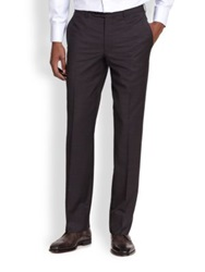 Saks Fifth Avenue Wool Micro Check Trousers Navy Black Brown
