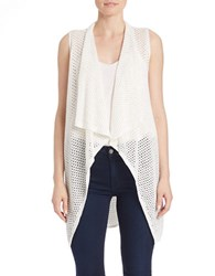 Elie Tahari Juno Draped Open Knit Vest Antique White