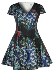 True Decadence Short Sleeve Floral Skater Dress Dark Blue
