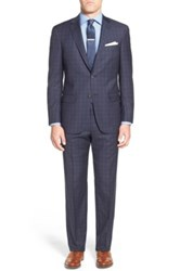 Hart Schaffner Marx 'New York' Classic Fit Check Wool Suit Blue