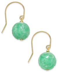 Macy's Jade Bead Drop Earrings 10Mm In Gold Plated Sterling Silver Yellow Gold
