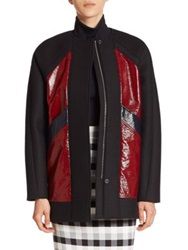 Tanya Taylor Calista Colorblock Coat Black Bonded Wool