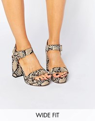 Asos Harbour Wide Fit Platform Sandals Snake Multi