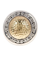 Phillip Gavriel 18K Yellow Gold And Oxidized Sterling Silver Hammered Center Ring Multi