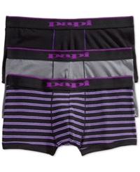 Papi Men's Multi Striped And Solid Brazilian Trunks 2 Pack Black Grey Purple Stripe