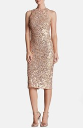 Dress The Population Women's 'Shawn' Sequin Midi Pink Gold