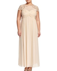 Marina Plus Sequined Short Sleeve Empire Gown Champagne