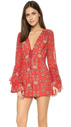 For Love And Lemons Pia Romper Red