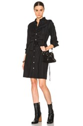 Engineered Garments Bd Worsted Wool Flannel Shirt Dress In Black