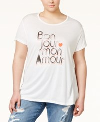 Rachel Rachel Roy Curvy Plus Size Bonjour Graphic T Shirt Off White