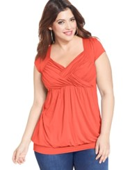 Soprano Trendy Plus Size Ruched Empire Top Coral