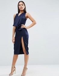 Asos Extreme Cowl Front Cut Out Back Midi Dress Navy Blue