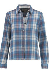 Sea Poplin Paneled Checked Cotton Flannel Shirt Blue