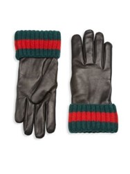 Gucci Cashmere And Leather Blend Gloves Black