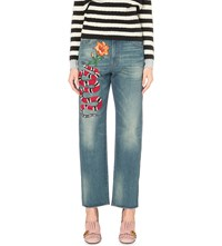 Gucci Straight Leg High Rise Embroidered Jeans Blue