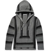 Outerknown Pacifica Jacquard Knit Organic Cotton And Baby Alpaca Blend Hoodie Anthracite