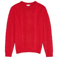 Reiss Tale Chunky Cable Knit Jumper Red