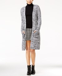 Almost Famous Juniors' Duster Cardigan With Belt White Black