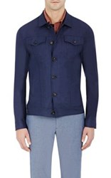 Luciano Barbera Men's Chambray Jacket Navy