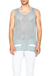 Off White Rough Cut Mesh Tank Top In Blue
