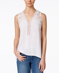 Maison Jules Sleeveless Lace Trim Top Only At Macy's Bright White
