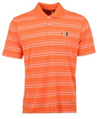 Adidas Men's Miami Hurricanes Puremotion Textured Stripe Polo Orange