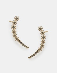 River Island Diamante Flower Ear Cuff Pair Crystal