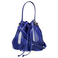 Marie Odile For Soltek Bagatelle Bucket Bag Royal Blue Leather And White Leather