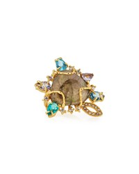 Indulgems Golden Labradorite Gemstone Cluster Cocktail Ring Women's