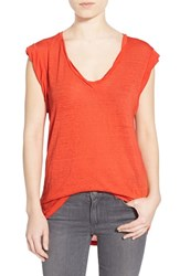 Women's Pam And Gela 'Kate' Burnout V Neck Muscle Tee Orange