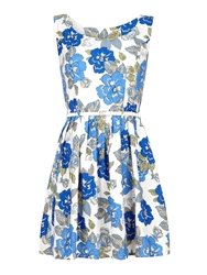 Mela Loves London Navy Floral Day Dress White