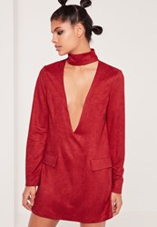 Missguided Faux Suede Choker Neck Plunge Shift Dress Red