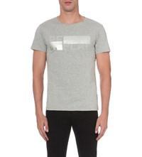 Replay Logo Print Cotton Jersey T Shirt Melange Grey