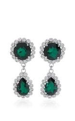 Alessandra Rich Emerald Drop Earrings Green