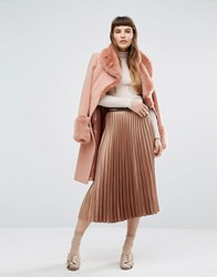 Miss Selfridge Foiled Pleated Midi Skirt Bronze Gold