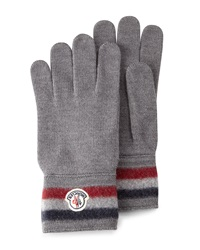 Moncler Striped Logo Cashmere Gloves Gray