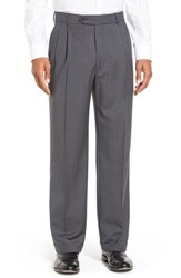 Men's Big And Tall Ballin Pleated Solid Wool Trousers Mid Grey